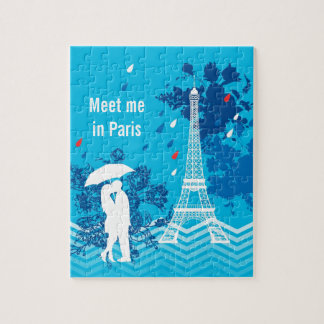 Couple in Paris with Eiffle Tower Puzzles