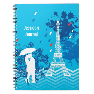 Couple in Paris with Eiffle Tower Spiral Notebook