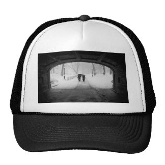 Couple in Snowstorm Central Park Trucker Hats
