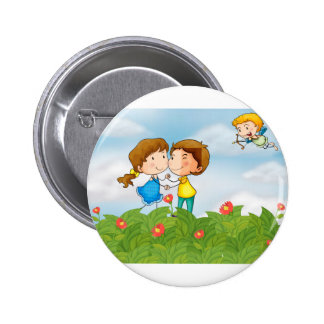 Couple in the garden with Mr. cupid 6 Cm Round Badge