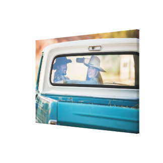 Couple in truck gallery wrap canvas