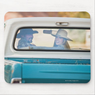 Couple in truck mouse pad