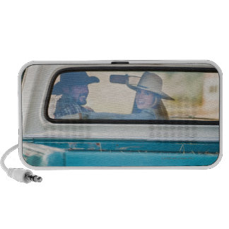 Couple in truck iPod speakers