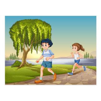 Couple jogging postcard