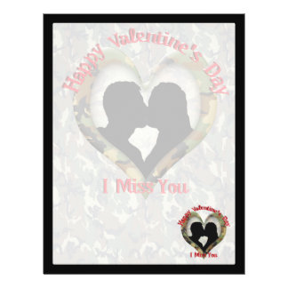 Couple Kissing  - I missing you on Valentine's Day 21.5 Cm X 28 Cm Flyer