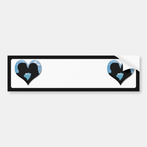 Couple Kissing Silhouette with Blue Sky Heart Bumper Stickers