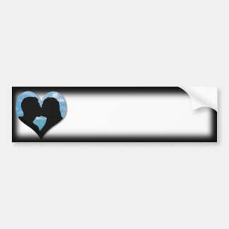 Couple Kissing Silhouette with Blue Sky Heart Bumper Sticker