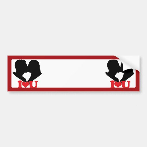 Couple Kissing Silhouette with I♥U Text Bumper Sticker