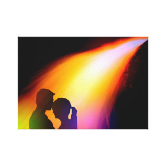 Couple love colorful artistic illustration stretched canvas print