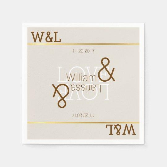 couple names, romantic celebration, wedding paper napkin