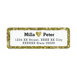 couple names with faux gold glitter border, love return address label