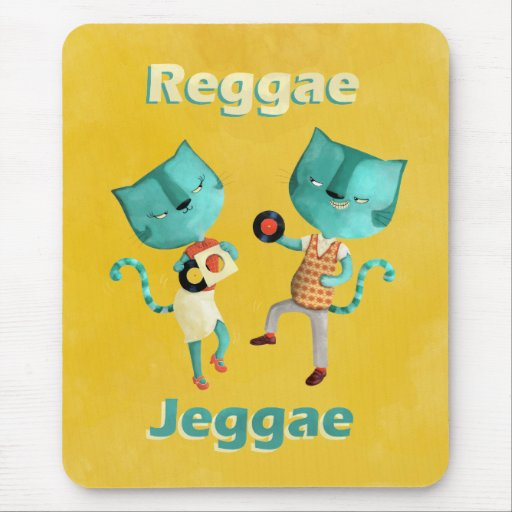 Couple of Blue Reggae Cats Mouse Pads
