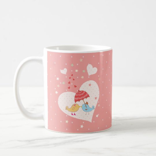 Couple of cute lovely Birds Couple Monogram Coffee Mug