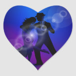 Couple of Dancing Tango Design Heart Sticker