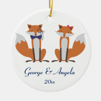 Couple of foxes christmas tree ornament