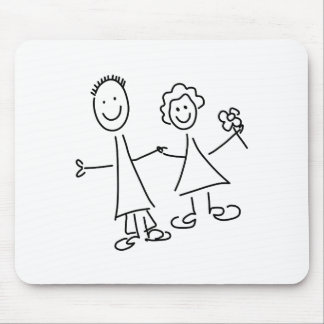 Couple of Hand in Hand Lovers Drawing Mouse Pad