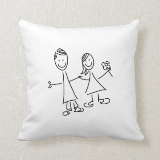 Couple of Hand in Hand Lovers Drawing Pillow
