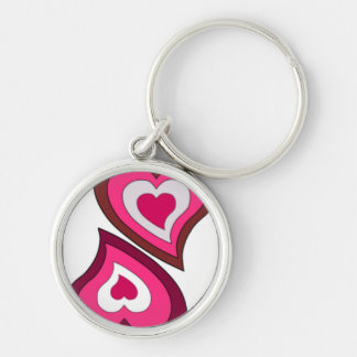 Couple of Hearts Silver-Colored Round Key Ring