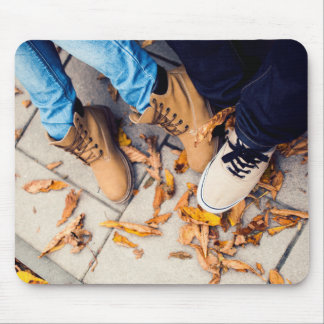 Couple of people on a sidewalk mouse pad