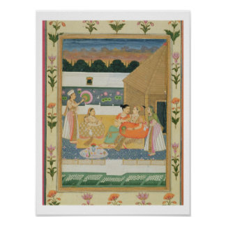 Couple on a terrace at sunset, from the Small Cliv Poster