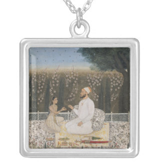 Couple on a Terrace in a Garden Silver Plated Necklace
