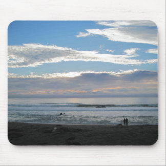 Couple on Beach Gazing into Sunset and Ocean Mouse Pad