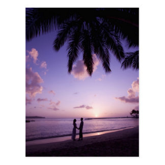 Couple on beach, Windjammer Landing, St. Lucia Postcard