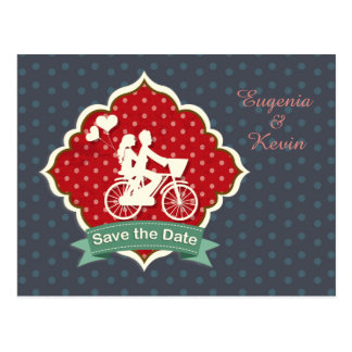 Couple on bicycle Retro Save the Date Postcard