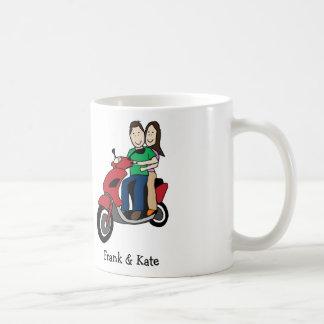 Couple on scooter - custom cartoon mug