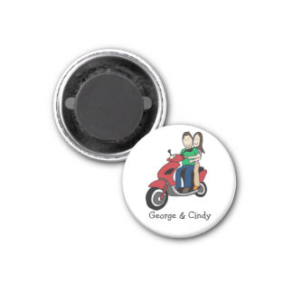 Couple on scooter - personalized cartoon 3 cm round magnet