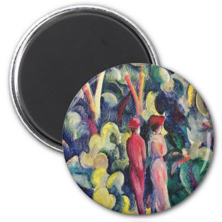 Couple on the Forest Track by August Macke 6 Cm Round Magnet