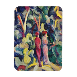Couple on the Forest Track by August Macke Rectangular Magnets