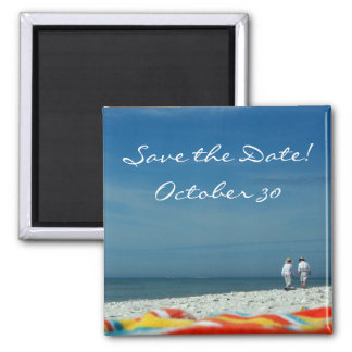 Couple on the Sandy Beach Square Magnet
