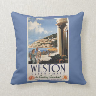 Couple Overlooking Coast Railway Poster Cushion