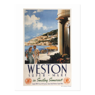 Couple Overlooking Coast Railway Poster Postcard