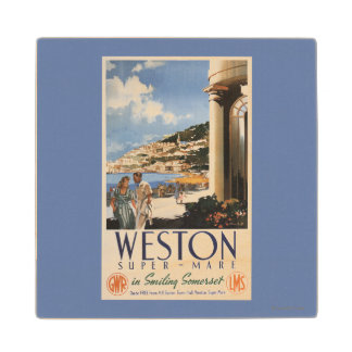 Couple Overlooking Coast Railway Poster Wood Coaster
