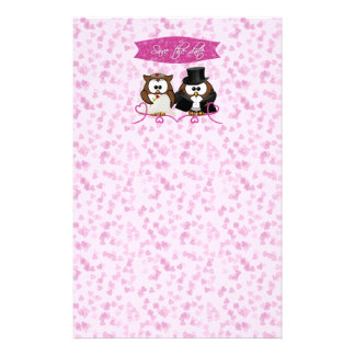 couple owl - save-the-date customised stationery