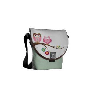 Couple owls messenger bag