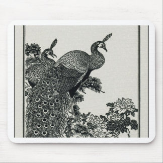 Couple Peacocks and Peonies Mouse Pad
