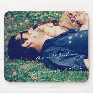 Couple Photo Name Sweet Summer Hearts Gold Mouse Mat