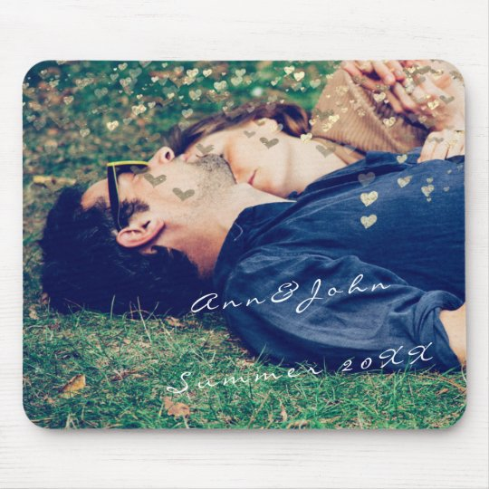 Couple Photo Name Sweet Summer Hearts Gold Mouse