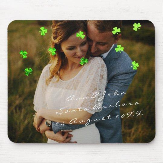 Couple Photo Name Wedding Favor Clover Green Mouse