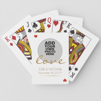 couple photo wedding white poker deck