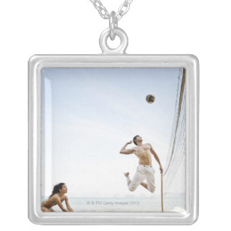 Couple Playing Beach Volleyball at Six Senses Silver Plated Necklace