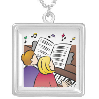Couple Playing Piano Silver Plated Necklace