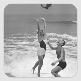 Couple Playing with a Beachball Square Sticker