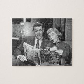 Couple Reading Magazine Jigsaw Puzzle