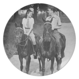 Couple Riding Horses Plate