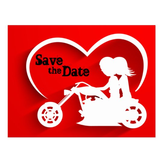 Couple Riding Motorcycle Save the Date Wedding Postcard