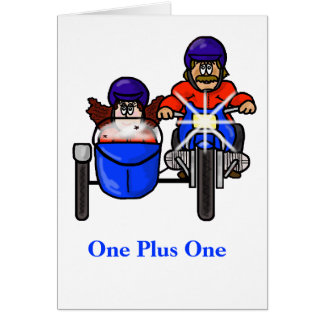 Couple Riding Motorcycle with Side Car Card